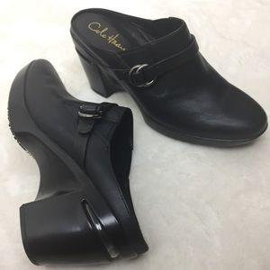 Cole Haan Nike Air Shelly Wedge Mules Black SZ. 8